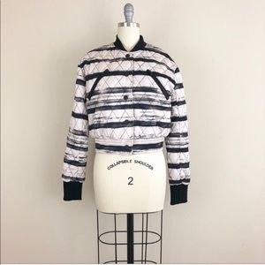 Kendal & Kylie Striped Quilted Bomber Jacket